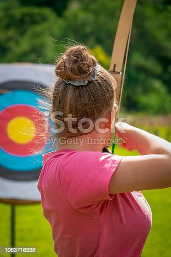 istock A Young Woman Practicing Archery Takes Aim at a Target With a Bow and Arrow on a Country Estate in Scotland 1063716338