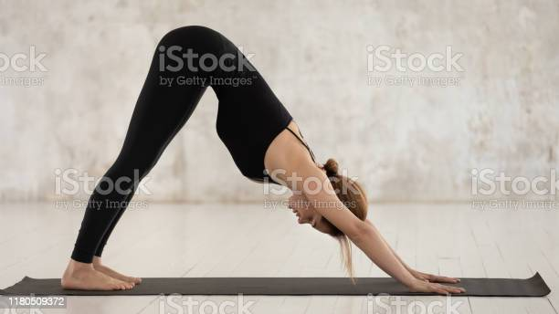 Young woman practicing yoga downward facing dog adho mukha svanasana picture id1180509372?b=1&k=6&m=1180509372&s=612x612&h=psedbpq2onwz dr30velab4umvpxylltwyqjq tjsmq=