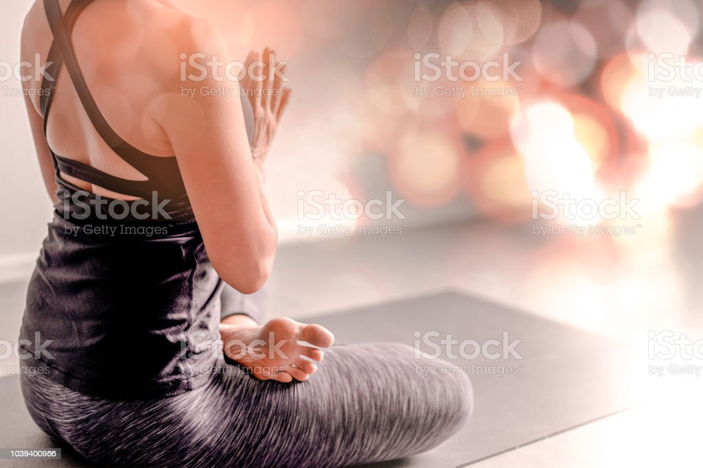 Young Woman Practicing Yoga In Color Backgroundyoung People Do Yoga