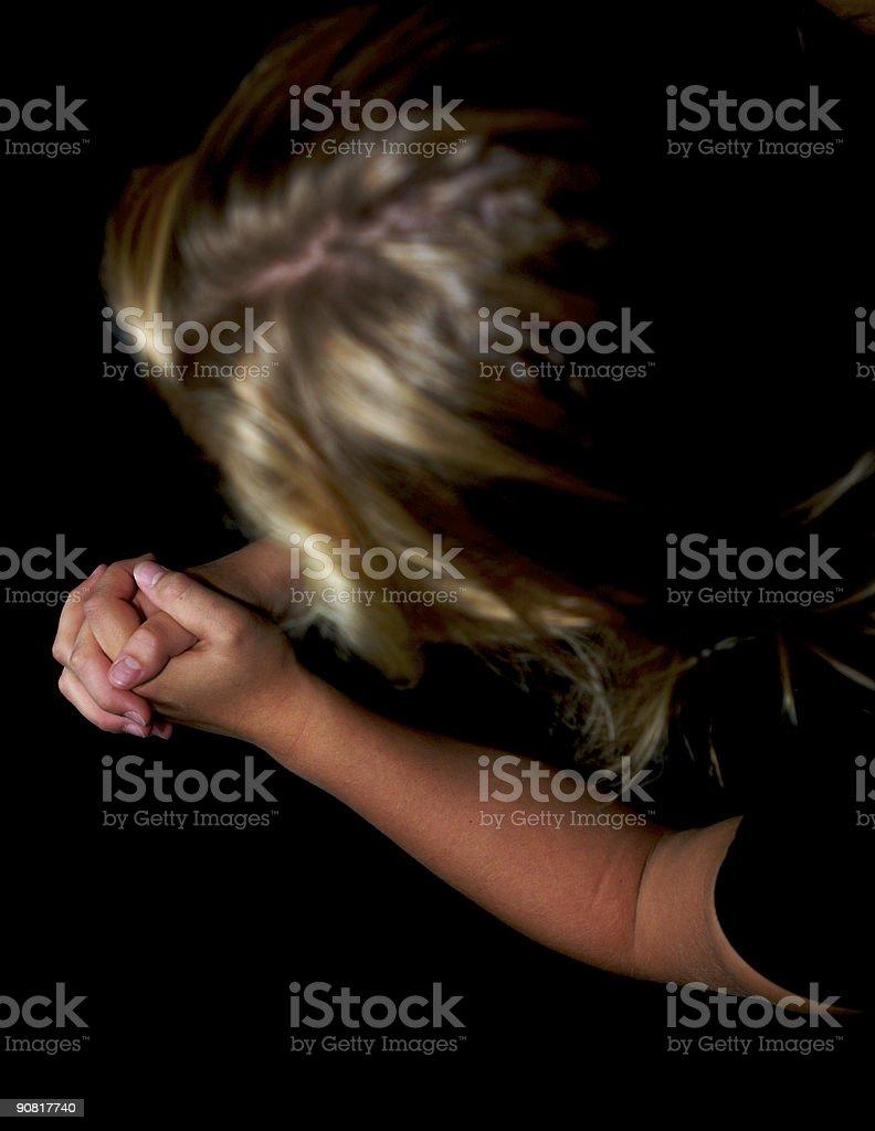 Young woman praying. stock photo