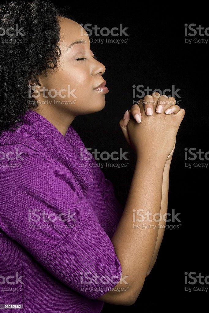 Young Woman Praying royalty-free stock photo