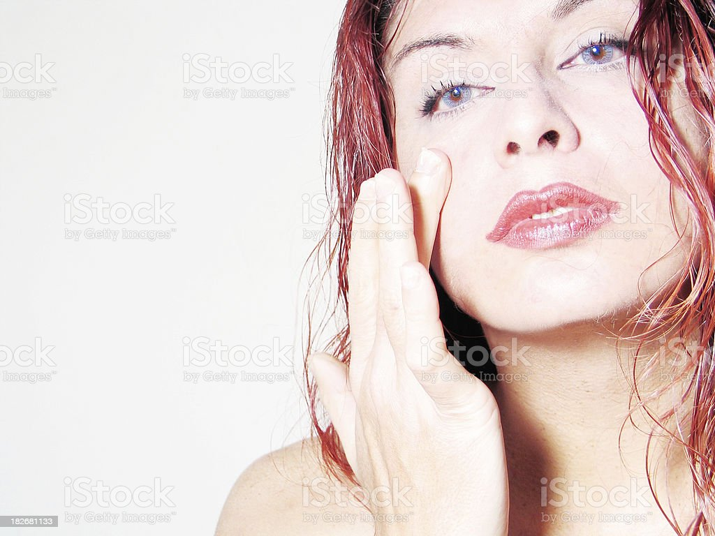 young woman preening royalty-free stock photo