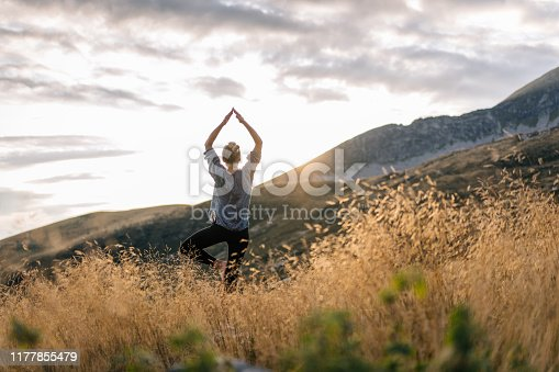 istock Young woman preforms yoga in mountains in morning light 1177855479