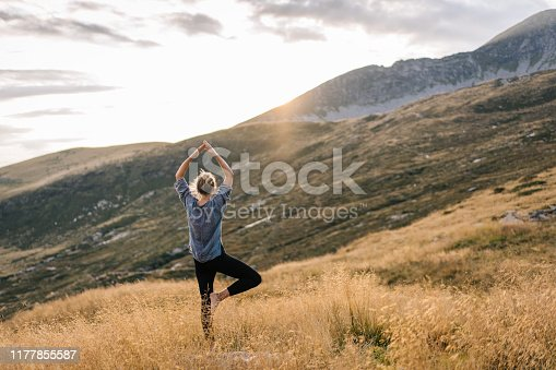 istock Young woman preforms yoga in mountains in morning light 1177855587