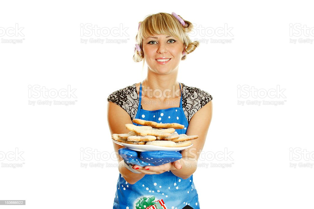 Young woman prepared cookies for Xmas royalty-free stock photo