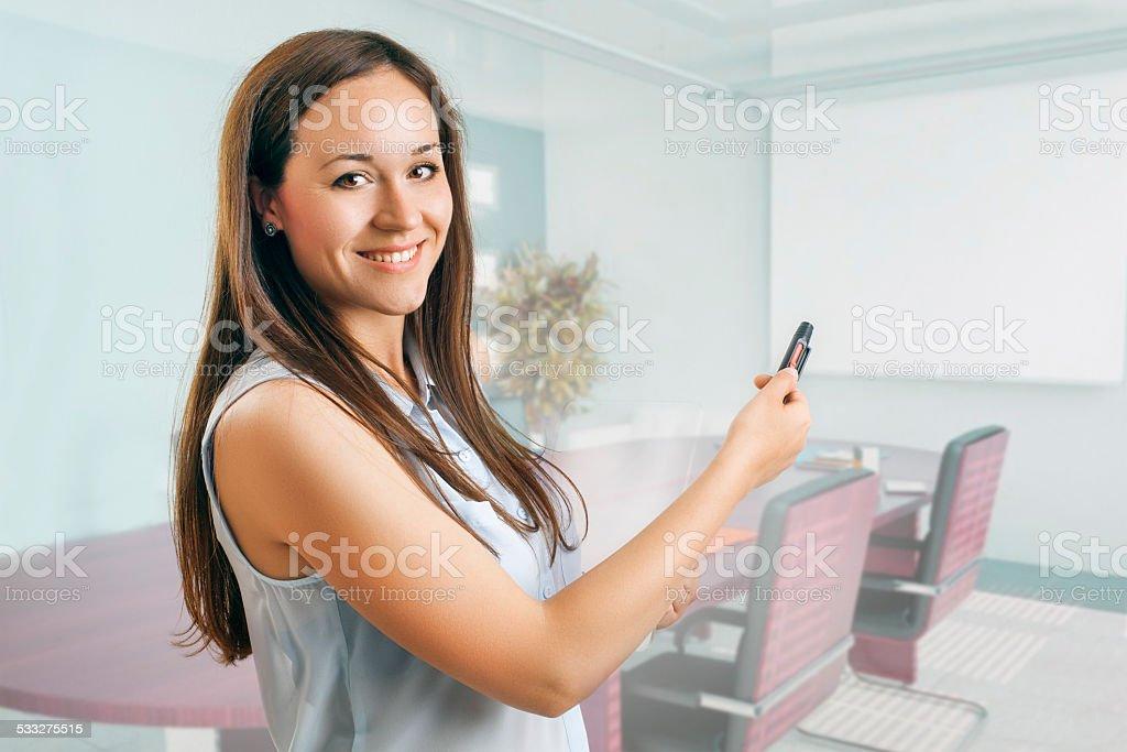 Young woman presenter stock photo