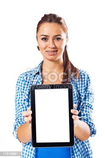 863476166istockphoto Young woman presenting digital tablet 175189611