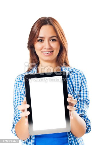 863476166istockphoto Young woman presenting digital tablet 175380472