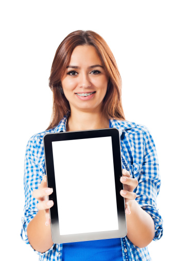1166716628 istock photo Young woman presenting digital tablet 175380472