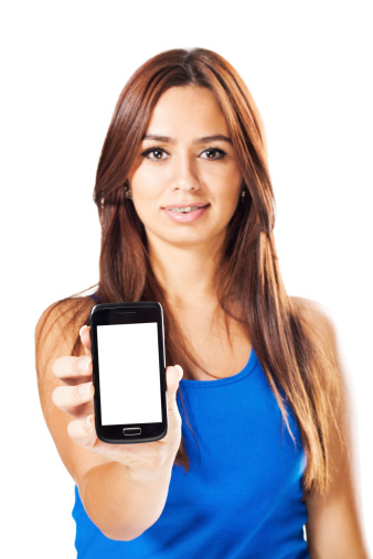 1166716628 istock photo Young woman presenting smart phone 175535416