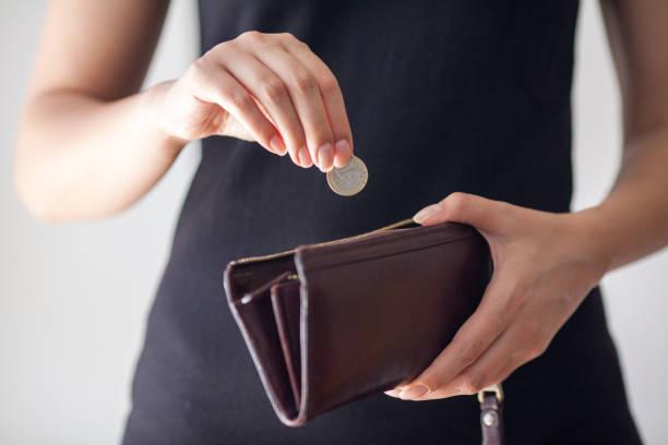 若い女性の財布の中のコインを置きます。コインのレザー財布 - 財布 ストックフォトと画像