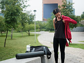 latin woman, young adult, outdoors, sportwear, urban life