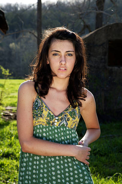 young woman ranch portraits stock photo