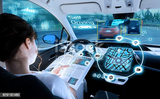829192098 istock photo young woman reading a magazine in a autonomous car. driverless car. self-driving vehicle. heads up display. automotive technology. 829192480