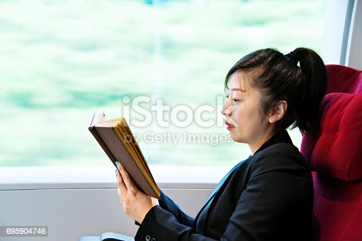 istock Young woman reading book on a train 695904746