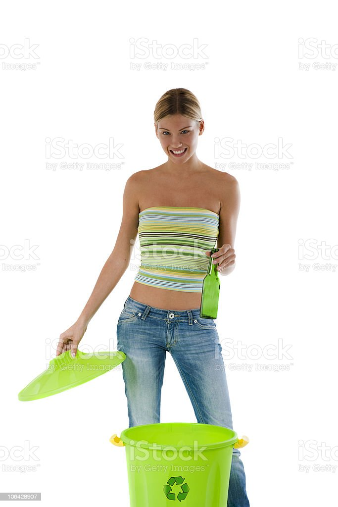Young woman recycling royalty-free stock photo