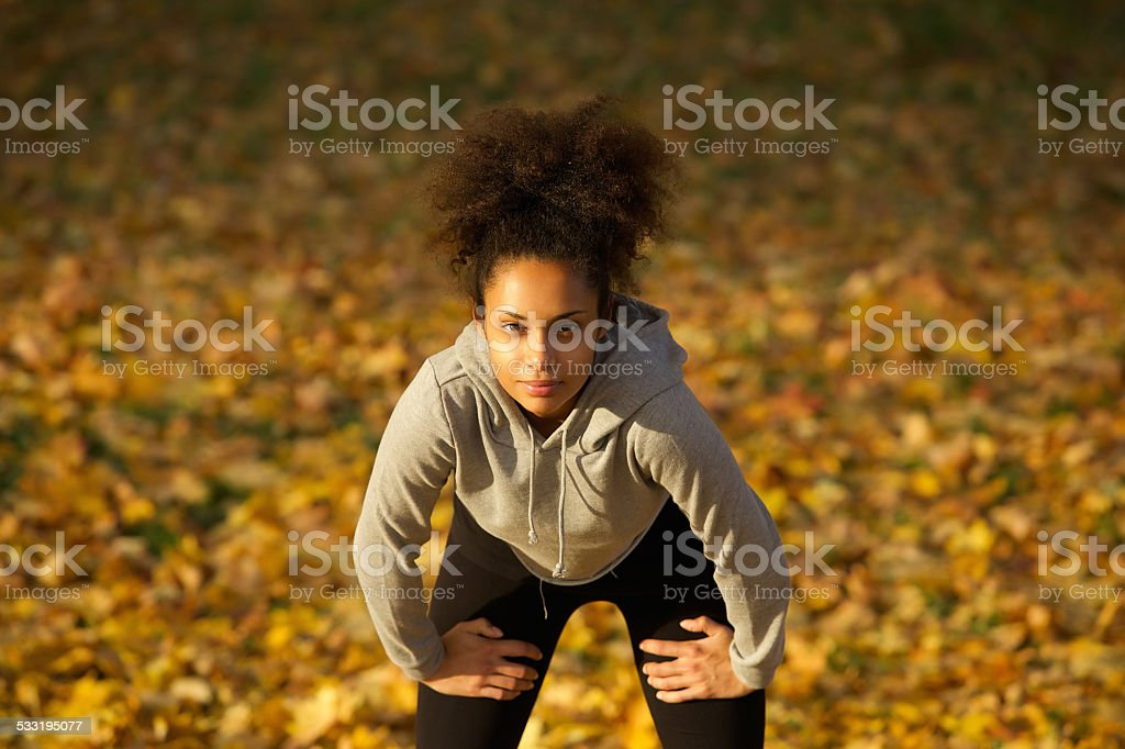 Young woman relaxing after work out stock photo