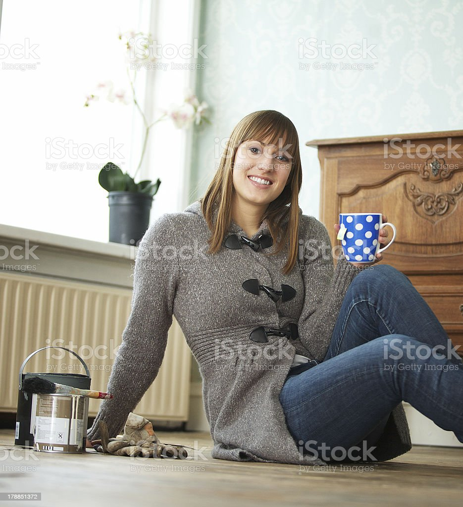 Young Woman Relaxing at Home royalty-free stock photo