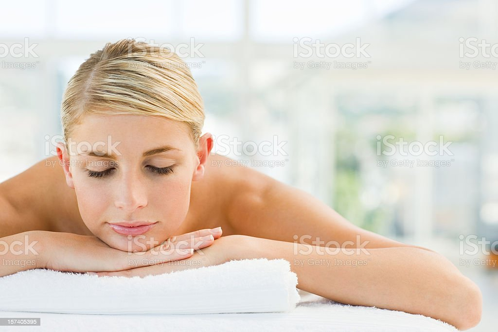 Young woman relaxing at spa royalty-free stock photo