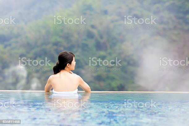 Young woman relaxing in hot springs picture id635811466?b=1&k=6&m=635811466&s=612x612&h= g1qk8ni77ovs0ozksq85gsjezyztmyz9br4 hnaqoo=