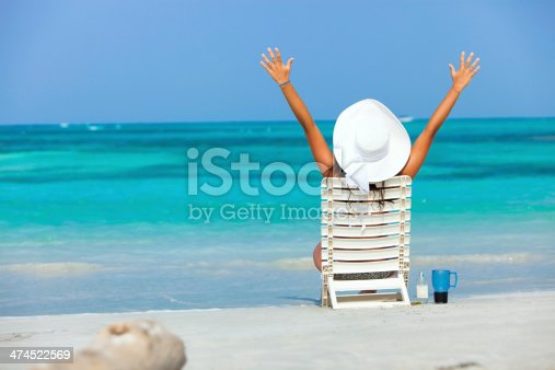 476618818 istock photo Young woman relaxing on chair in a Caribean island beach 474522569