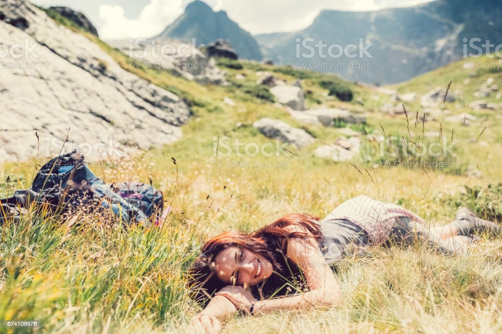 Young woman resting among nature royalty-free stock photo