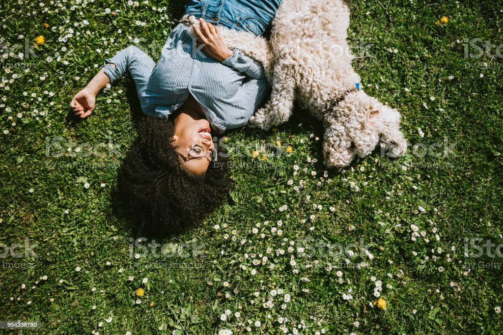 A Young Woman Rests in the Grass With Pet Poodle Dog stock photo