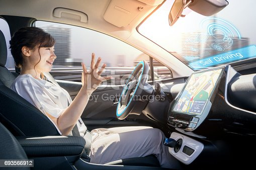 istock young woman riding autonomous car. self driving vehicle. autopilot. automotive technology. 693566912