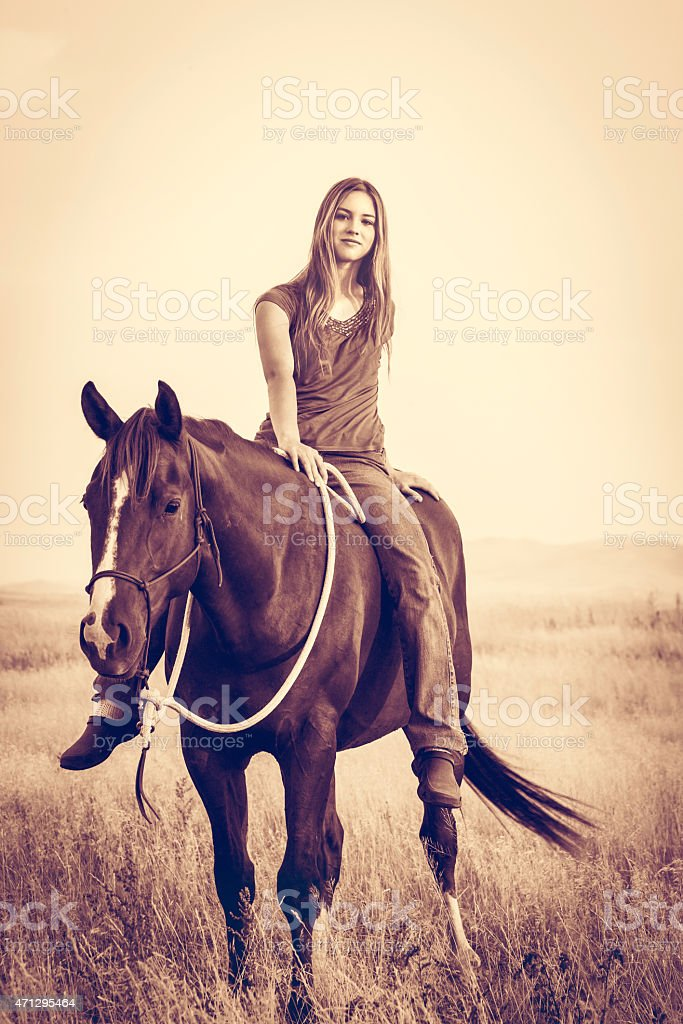 Young woman riding horse stock photo