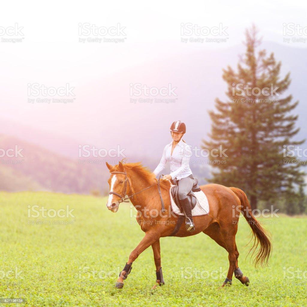 Young woman riding sorrel horse on mountain meadow stock photo