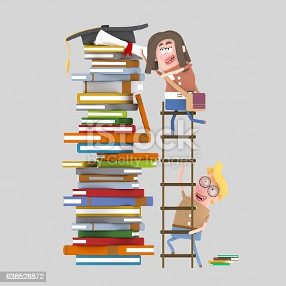 istock Young woman rises on a step ladder 638528872