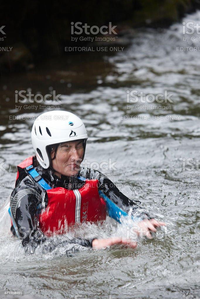 Young woman river walking royalty-free stock photo