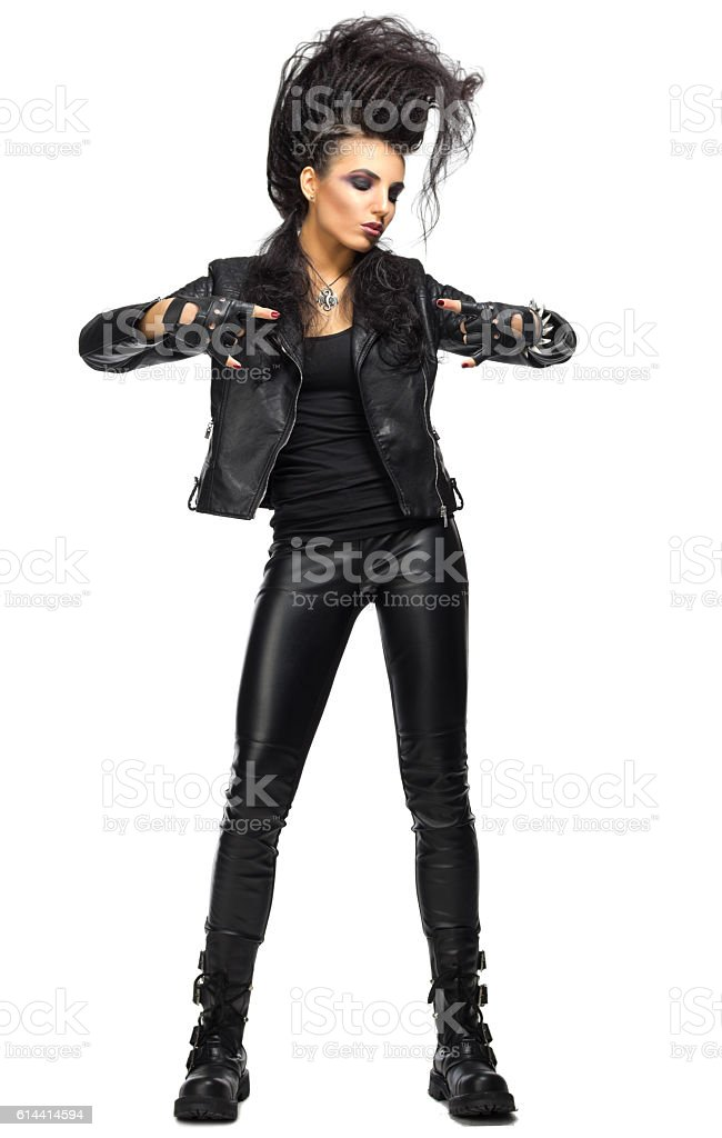 Young woman rock musician stock photo