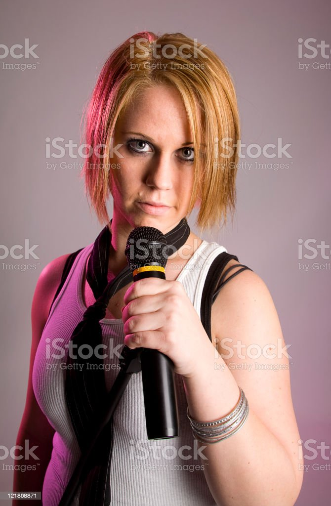 Young Woman Rock Singer royalty-free stock photo