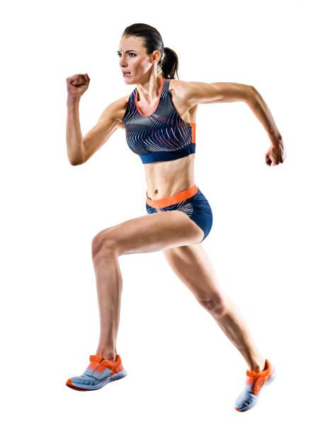 junge Läuferin läuft Jogger Joggen Leichtathletik isoliert weißen Hintergrund – Foto