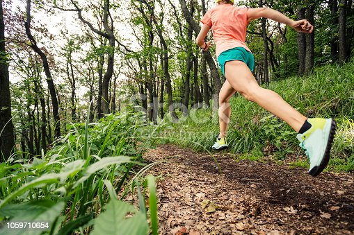 Young woman running in green forest. Endurance sport training. Female trail runner cross country running. Sport and fitness concept outdoors in nature.