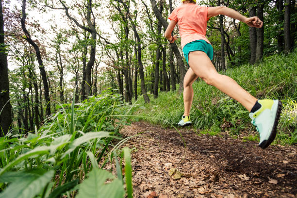 Young woman running in green forest. Endurance sport. stock photo