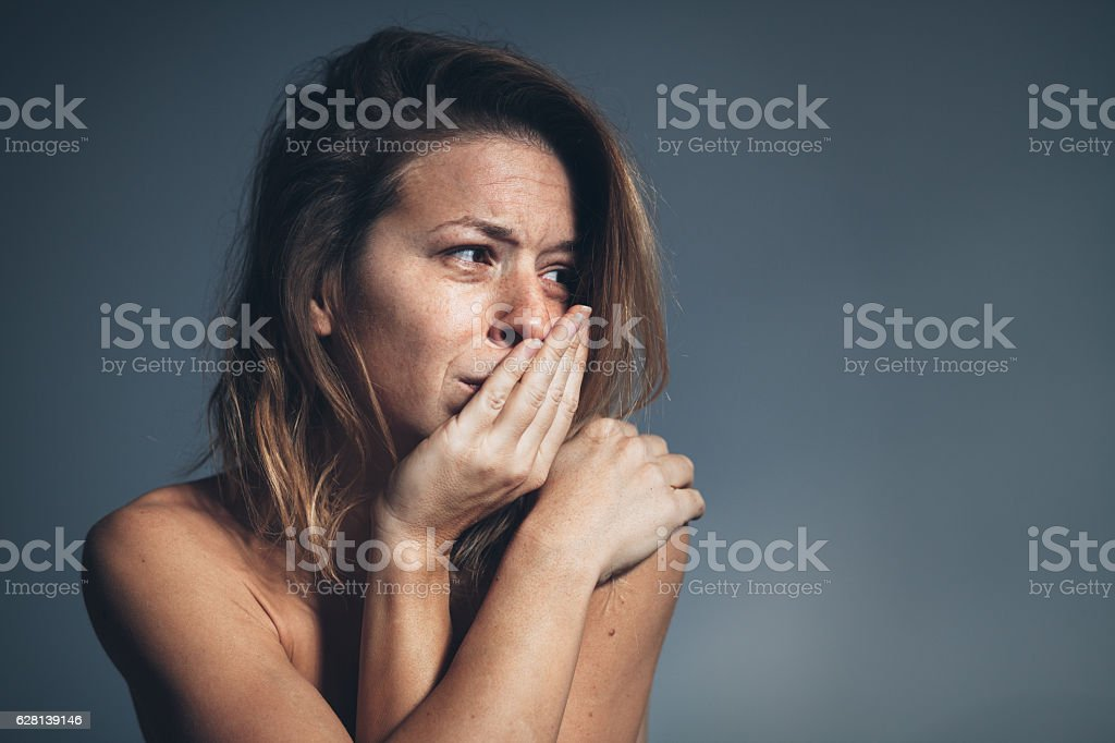 Young woman sad and depressed stock photo