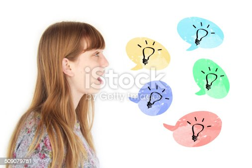 637797672 istock photo Young woman saying ideas 509079781