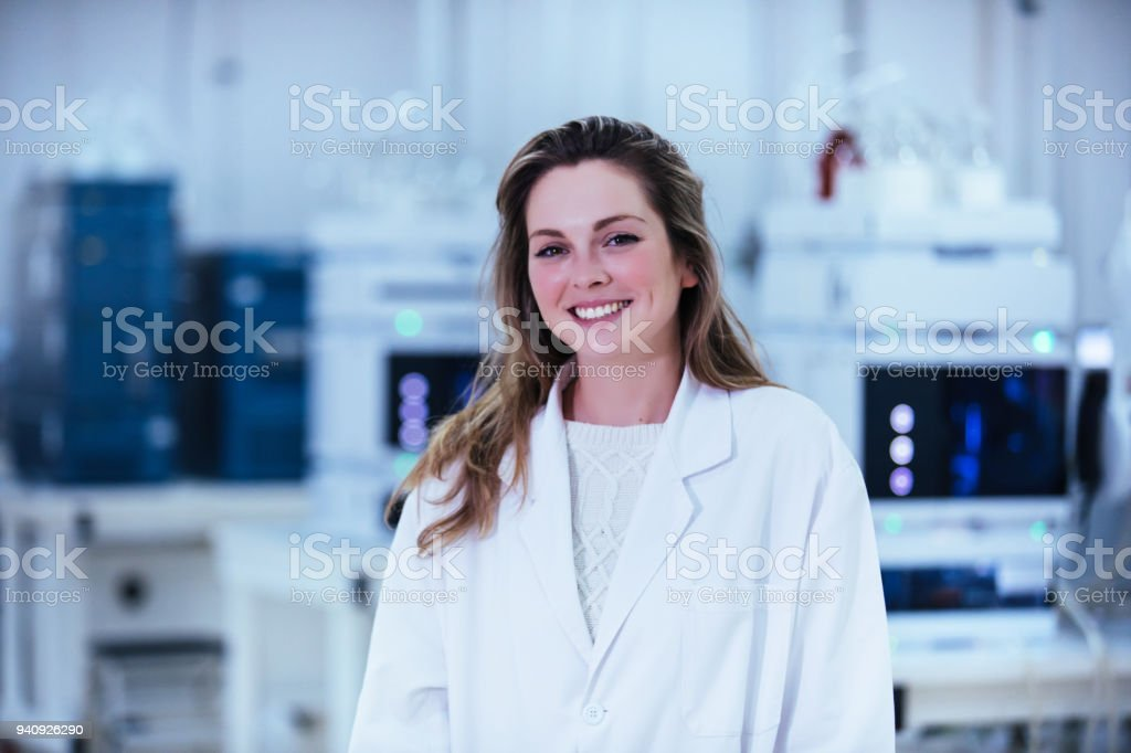 young woman scientist working in a laboratory stock photo