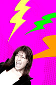 Young woman screaming fun colorful graphic collage