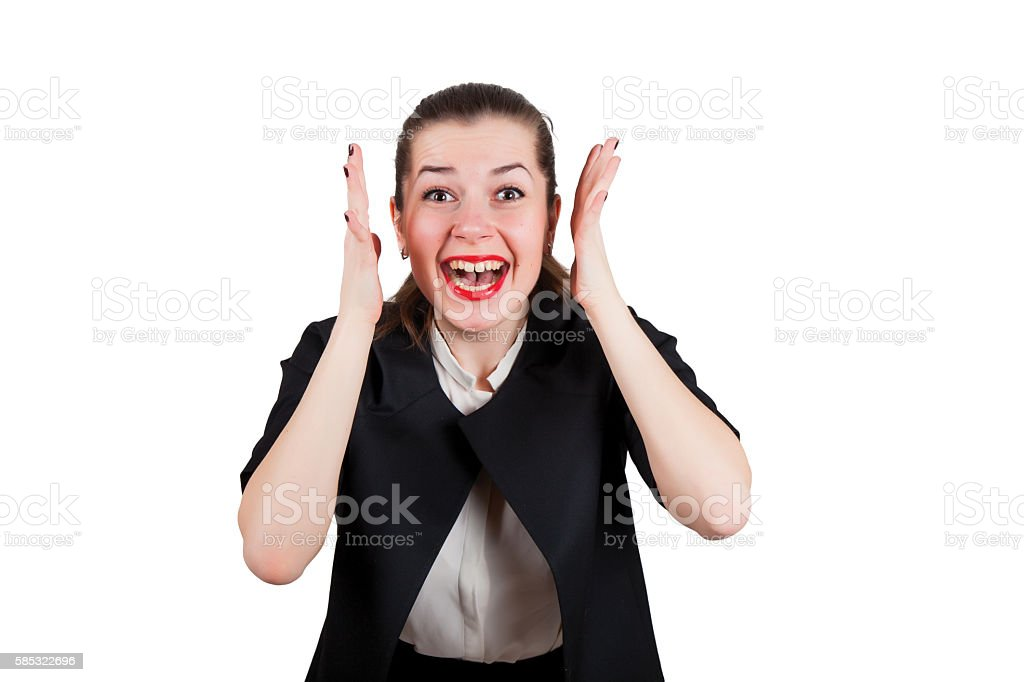 Young woman screaming happily stock photo