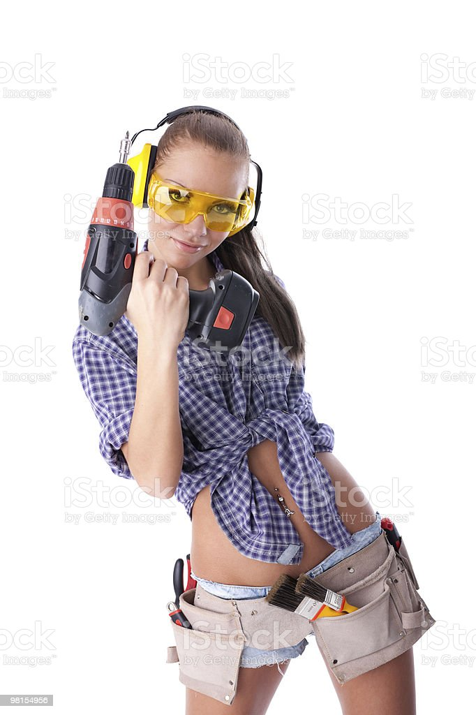 Young woman screwdriver royalty-free stock photo
