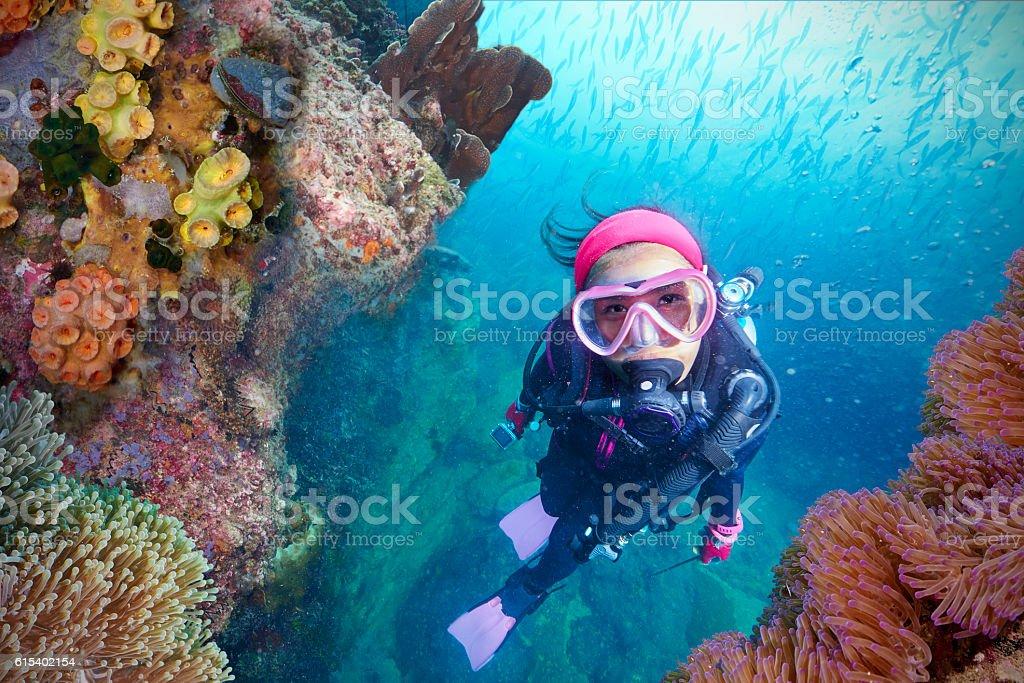 Young Woman Scuba Diver stock photo