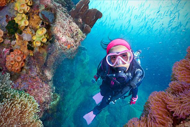 Jeune femme plongée sous-marine - Photo