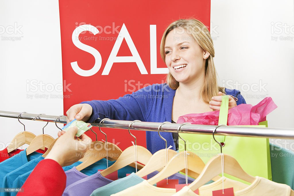Young Woman Shopper Fashion Sale Shopping with Credit Card royalty-free stock photo