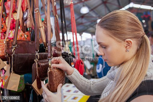 istock Young Woman Shopping at the Market 701100922