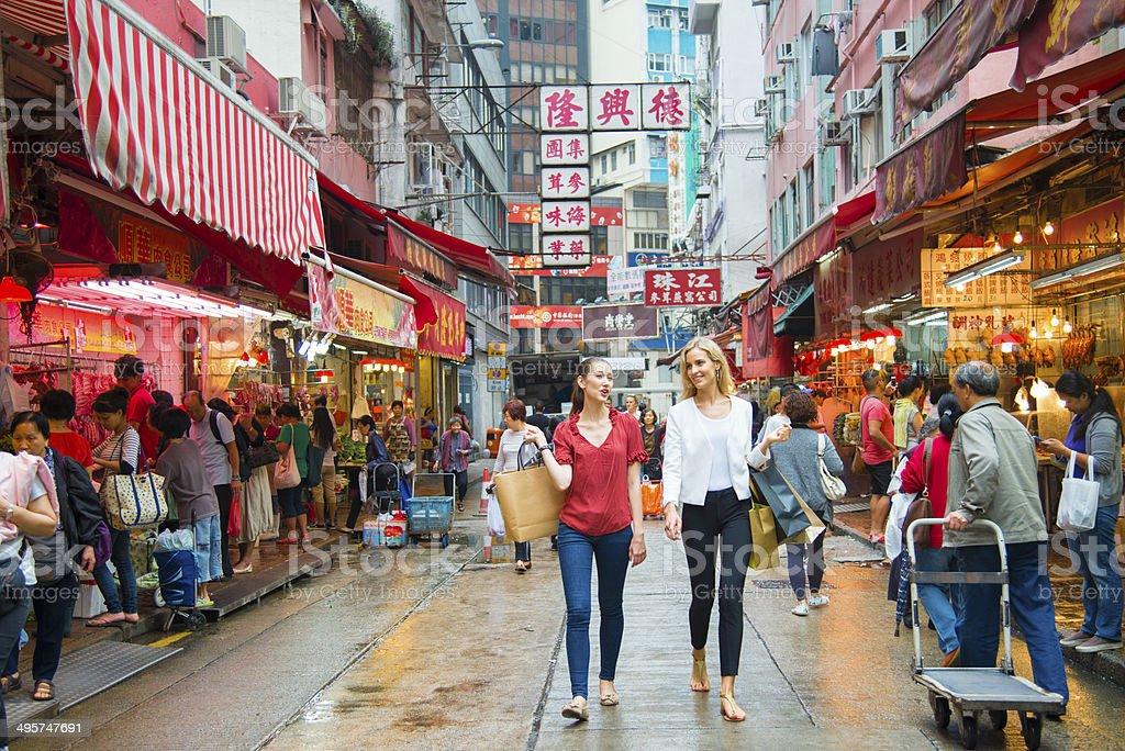 Young Woman Shopping in Hong Kong stock photo