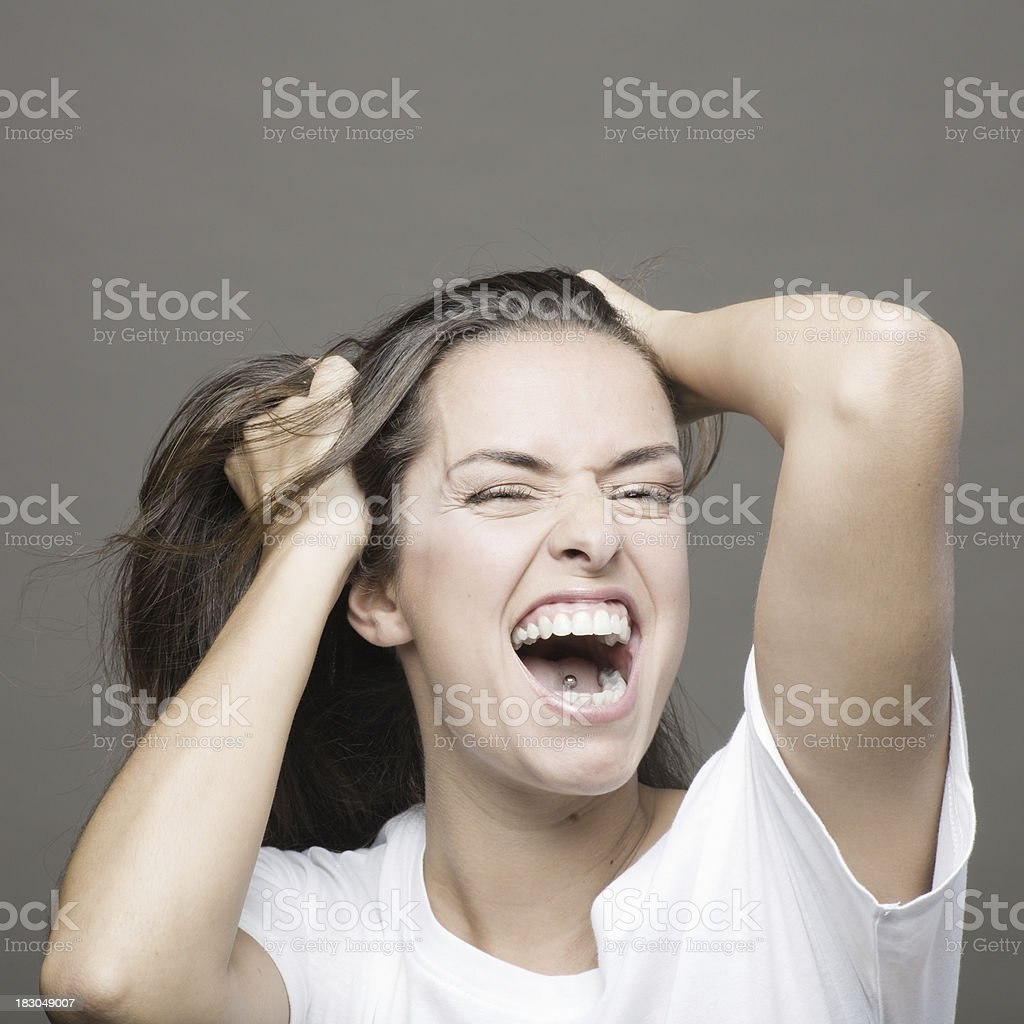 Young woman shouting _ square royalty-free stock photo
