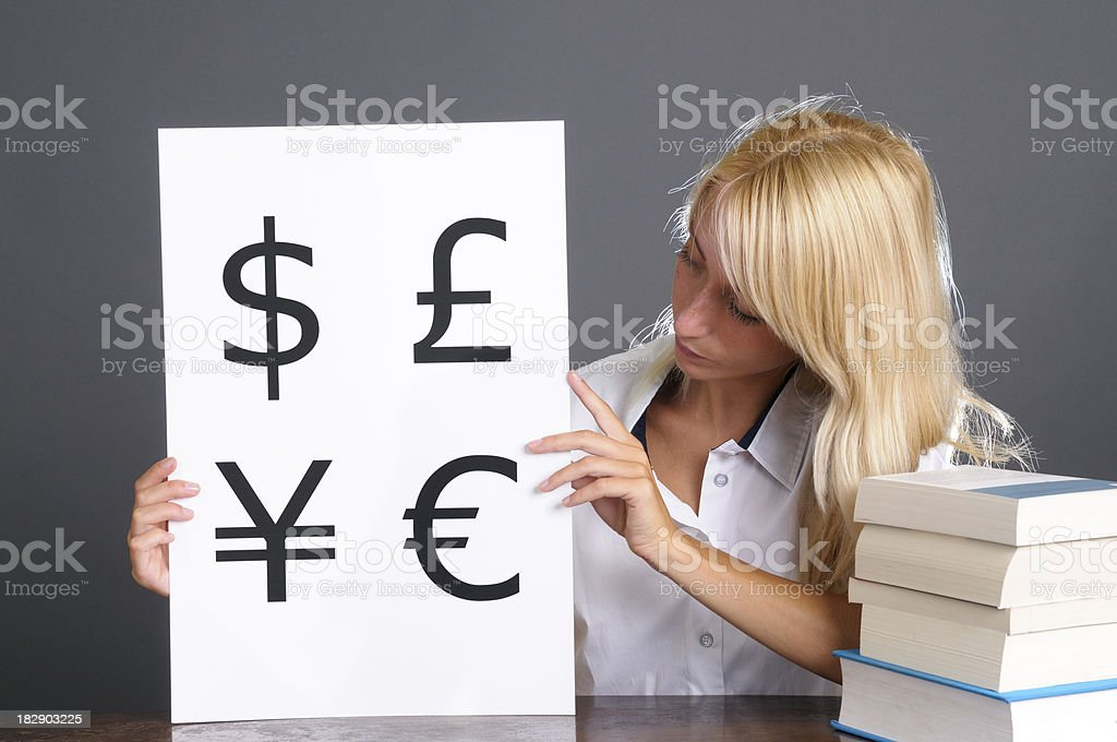 Young Woman Showing Currency Symbols Sign royalty-free stock photo